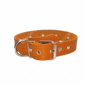 Ошейник кожаный Лаурон, 62 см*3,5 см, украшенный, рыжий