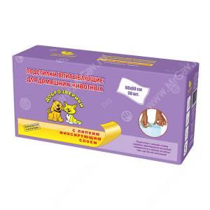 Пеленки впитывающие Доброзверики c липкой лентой, 60 см*60 см, 30 шт.