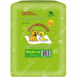 Пеленки впитывающие Доброзверики с суперабсорбентом, 40 см*60 см, 12 шт.
