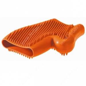 Перчатка резиновая для вычесывания шерсти Hunter Smart, оранжевая
