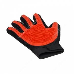 Перчатка силиконовая с шипами на рук V.I.Pet, малая красная