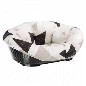 Подушка Ferplast Sofa 4, 64 см*48 см*25 см, бежевые и черные треугольники