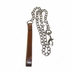 Поводок цепь с кож. ручкой Triol, 110 см*2,5 мм, коричневый
