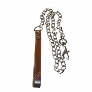 Поводок цепь с кож. ручкой Triol, 110 см*3,5 мм, коричневый