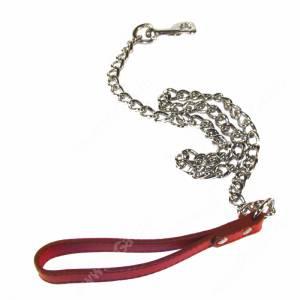 Поводок цепь с кож. ручкой Triol, 110 см*3,5 мм, красный