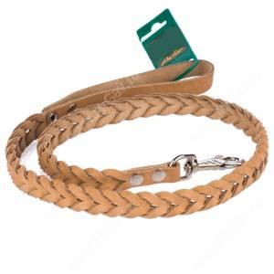 Поводок кожаный Аркон, 120 см*1,6 см, плетеный, бежевый
