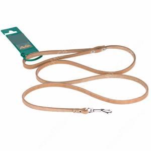 Поводок кожаный Аркон, 140 см* 0,8 см, бежевый
