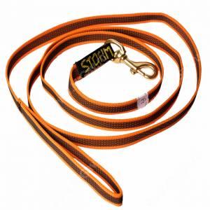 Поводок нейлоновый прорезиненный Storm, 2 см*2 м, оранжевый