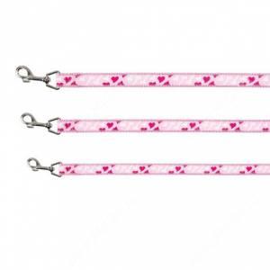 Поводок нейлоновый Trixie Сердце, 100 см*2,5 см, розовый
