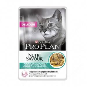 Pro Plan Delicate Cat (Океаническая рыба в соусе), пауч, 85 г