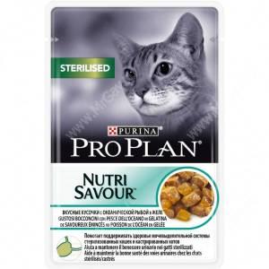 Pro Plan Sterilised Cat (Океаническая рыба в желе), пауч, 85 г