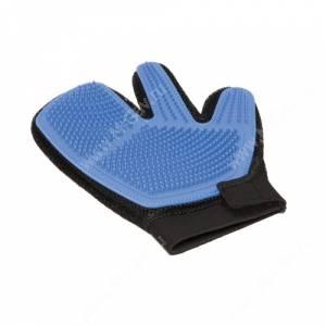 Рукавица силиконовая на руку V.I Pet, трехпалая синяя