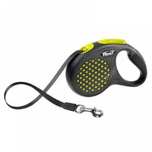 Рулетка Flexi Compact Design, S, до 15 кг, 5 м, желтый горошек