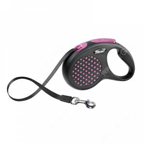 Рулетка Flexi Compact Design, S, до 15 кг, 5 м, розовый горошек