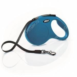 Рулетка Flexi New Classic Compact, M  до 25 кг,  5 м, синяя