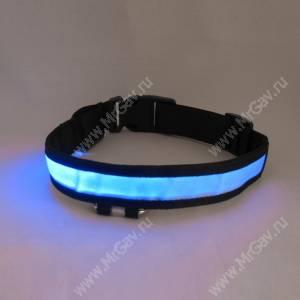 Светящийся ошейник L, 52*2,5 см, голубой