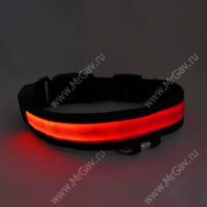 Светящийся ошейник M, 45*2,5 см, фиолетово-красный