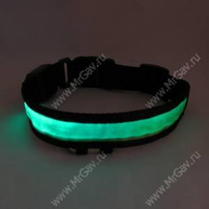 Светящийся ошейник M, 45*2,5 см, зеленый