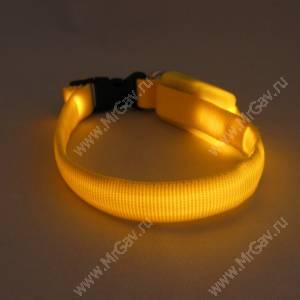Светящийся ошейник XS, 27*1,5 см, желтый