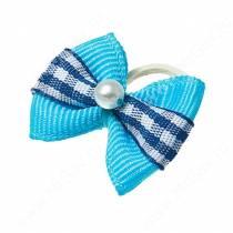Бантик голубой с полоской в синий квадрат, 2 шт.