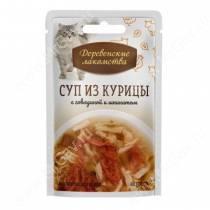 Деревенские лакомства суп из курицы с говядиной и шпинатом для кошек, 35 г