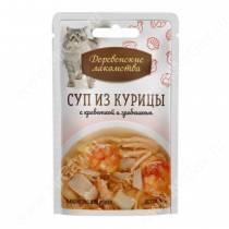 Деревенские лакомства суп из курицы с креветкой и гребешком для кошек, 35 г
