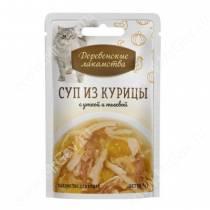 Деревенские лакомства суп из курицы с уткой и тыквой для кошек, 35 г