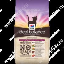 Hill's Ideal Balance No Grain натуральный беззерновой сухой корм для кошек с тунцом и картофелем