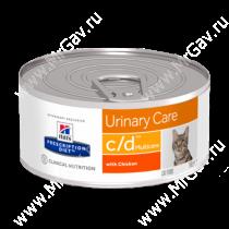 Hill's Prescription Diet c/d Multicare Urinary Care влажный корм для кошек с курицей, 156 г