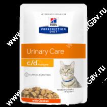 Hill's Prescription Diet c/d Multicare Urinary Care влажный корм для кошек для поддержания здоровья мочевыводящих путей с курицей, 85 г
