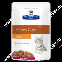 Hill's Prescription Diet k/d Kidney Care влажный корм для кошек с говядиной, 85 г