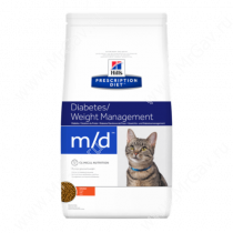 Hill's Prescription Diet m/d Diabetes/Weight Management сухой корм для кошек с курицей, 1,5 кг