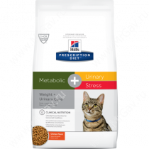 Hill's Prescription Diet Metabolic & Urinary, Weight & Urinary Care сухой корм для кошек с курицей, 1,5