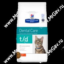 Hill's Prescription Diet t/d Dental Care сухой корм для кошек с курицей, 1,5 кг