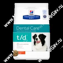 Hill's Prescription Diet t/d Dental Care сухой корм для собак с курицей, 3 кг
