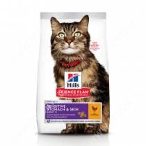 Hill's Science Plan Sensitive Stomach & Skin сухой корм для кошек для здоровья кожи и пищеварения с курицей, 7 кг