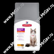 Hill's Science Plan Sensitive Stomach & Skin сухой корм для кошек для здоровья кожи и пищеварения с курицей, 1,5 кг