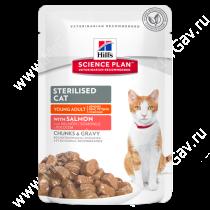 Hill's Science Plan Sterilised Cat влажный корм для кошек и котят от 6 месяцев с лососем, 85 г