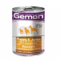 Консерва Gemon Dog Puppy&Junior (Кусочки курицы с индейкой), 415 г