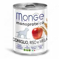 Консерва Monge Dog Monoproteico Fruits (Паштет из кролика с рисом и яблоками), 400 г