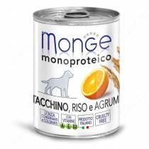 Консерва Monge Dog Monoproteico Fruits (Паштет из индейки с рисом и цитрусовыми), 400 г