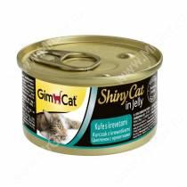 Консервы для кошек GimCat ShinyCat из цыпленка с креветками