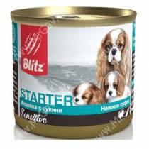 Консервы для щенков Blitz Starter индейка с цукини, 0,2 кг