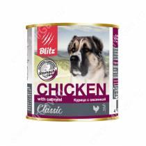 Консервы для собак Blitz курица с овсянкой, 0,75 кг