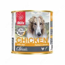 Консервы для собак Blitz курица с рисом, 0,75 кг