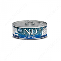 Консервы Farmina N&D Ocean Tuna & Shrimp  Adult Cat, 80 г