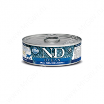 Консервы Farmina N&D Ocean Tuna, Cod & Shrimp Adult Cat, 80 г