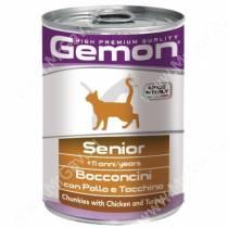 Консервы Gemon Cat для пожилых кошек (Кусочки курицы с индейкой) 415 г