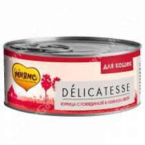 Консервы Мнямс для кошек Курица с говядиной в нежном желе, 70 г