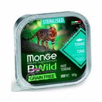 Консервы Monge Cat Bwild Grain Free для взрослых стерилизованных кошек (Тунец), 100 г